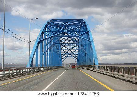 Blue steel bridge across the Yenisei River ** Note: Soft Focus at 100%, best at smaller sizes