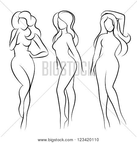 Naked woman silhouette or nude woman silhouette. Vector illustration