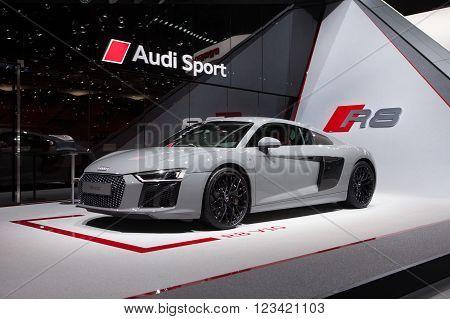 GENEVA, SWITZERLAND - MARCH 1: Geneva Motor Show on March 1, 2016 in Geneva, Audi R8 V10, front-side view