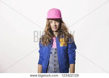 pop style caucasian positive girl on a white background