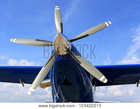 MOSCOW REGION - AUGUST 27: Five-bladed turboprop engine of the transport plane  on August 27, 2015 in Moscow region