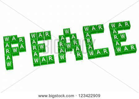 Word Peace written with blocks with letters WAR isolated on white background. 3D render.