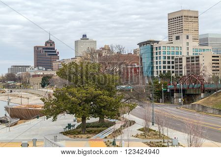 Panorama Of Downtown Memphis, Tennessee From Beale Street  Landing