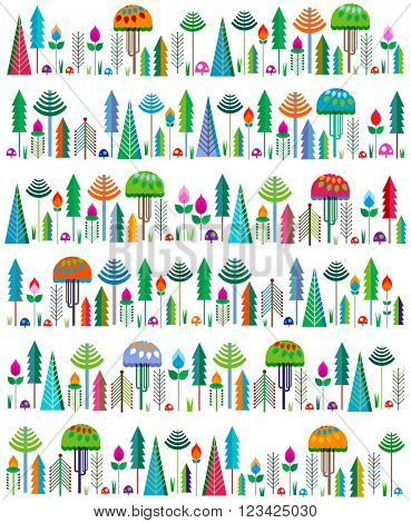 colorful whimsy trees