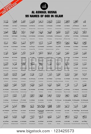 99 names / attributes of Allah (God in Islam) in arabic calligraphy style with their meanings in English. islamic pattern. flat vector illustration