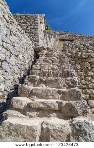 Old Stone Stairs In Machu Picchu Sacred City Of Incas In  Peru