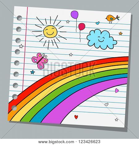 notebook paper with rainbow