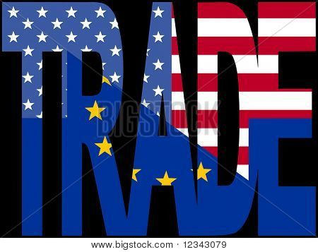 Trade text with EU and American flags illustration JPEG