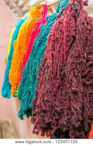 Colorful Yarns Traditionally Made Of Llama And Alpaca In Andes Mountains Near Cusco,  Peru