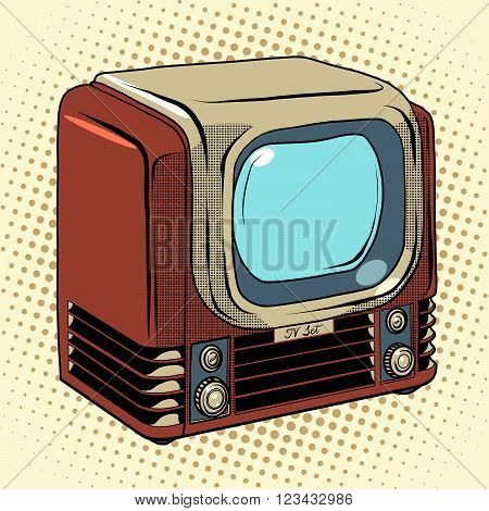Retro TV home appliances pop art retro style. Old TV. TV vector