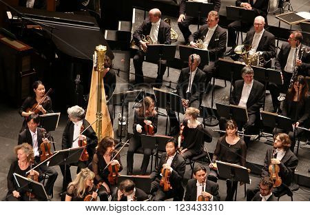 PARIS, FRANCE - MAY 10, 2015 : Orchestre national de France, during Anna Netrebko concert at theatre des champs elysees, Paris, France, may 10, 2015