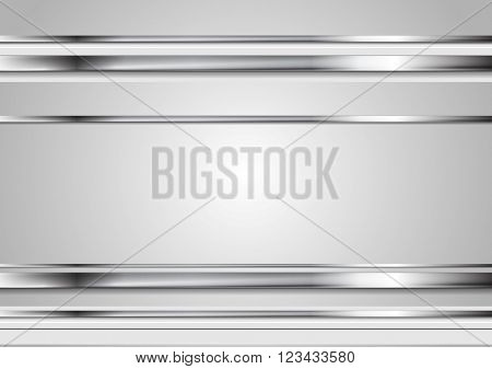 Minimal tech metallic abstract elegant background. Silver metal stripes on grey backdrop. Hi-tech metallic illustration