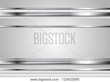 Minimal tech metallic abstract elegant background. Silver metal stripes on grey backdrop. Hi-tech metallic illustration