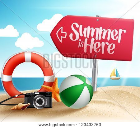 Summer Destination for Summer Beach Holiday in the Seashore with Roadsign Arrow and Summer Items in the Sand. Vector Illustration