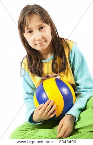 Portrait of the girl with a ball