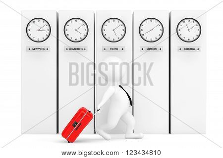 3d Person with Suitcase in front of Columns with Time Zone Clocks showing different time. 3d Rendering