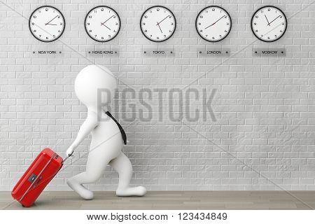 3d Person running with a Suitcase in front of Time Zone Clocks and brick wall. 3d Rendering