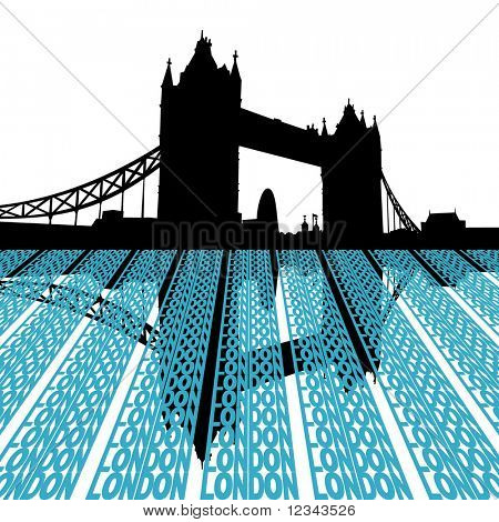 Tower Bridge reflected with London text illustration