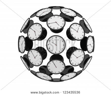 International Time Zones Concept. Modern Clocks as Sphere on a white background. 3d Rendering