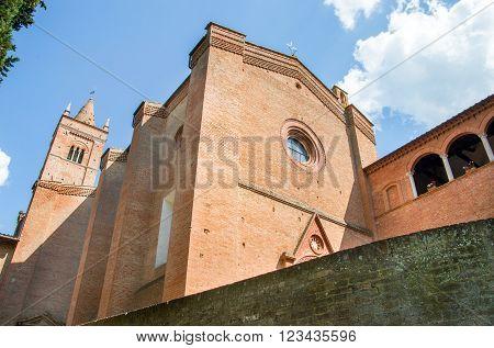 Monte Oliveto Maggiore Church facade in Asciano - Siena - Tuscany architecture , Italian