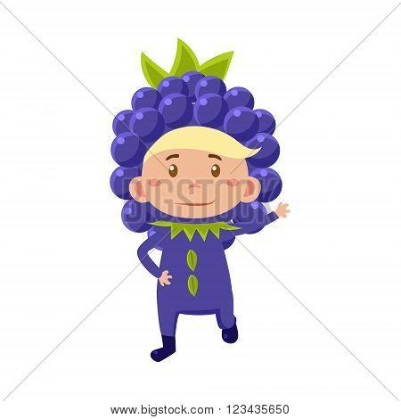 Cute Kid In Blackberry Costume. Vector Illustration