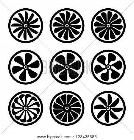 Turbines Icons Set. Turbojet Engine Power. Vector illustration