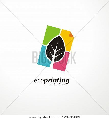 Creative symbol concept for printing office. Document icon and leaf colorful layout. Logo design idea for offset printing. CMYK logo template. Printing solutions.