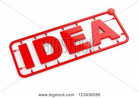Plastic Model Kit with Idea Sign on a white background