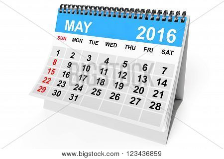 2016 year calendar. May calendar on a white background. 3d Rendering