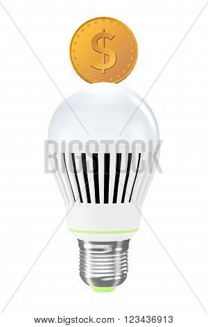 Energy Saving Concept. Led Bulb with Golden Coin on a white background. 3d Rendering