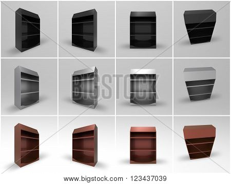 Promotional Shelf Display 3D Render is a professional realistic mock up of a store shelf display used for marketing campaigns and in store marketing.