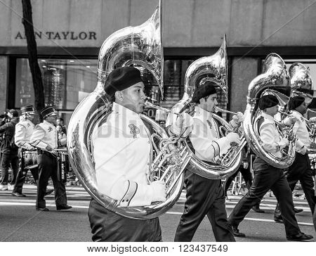 NEW YORK-MARCH 17-Dr Phillips High School Band of Orlando Florida in the St Patrick's Day Parade on March 17 2016 in New York City.