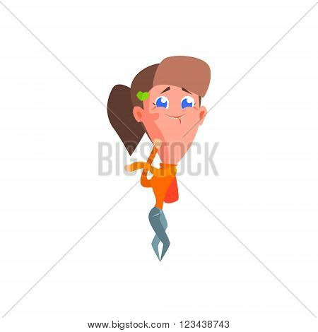 Gossip Girl Flat Vector Emotion Illustration In Graphic Style Isolated On White Background