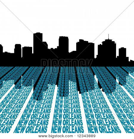 New Orleans Skyline with perspective text illustration