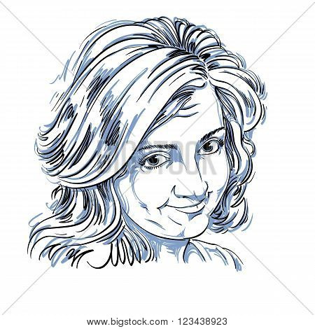 Vector Art Drawing, Portrait Of Naive Blameworthy Girl Isolated On White. Facial Expressions, People