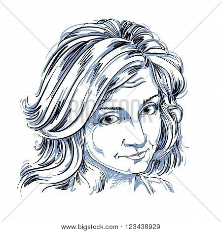 Artistic Hand-drawn Vector Image, Black And White Portrait Of Delicate Naïve Blameworthy Girl. Emoti