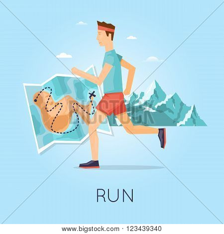 Man jogging on a background of mountains, sport, healthy lifestyle, jogging, fitness. Flat design vector illustration.
