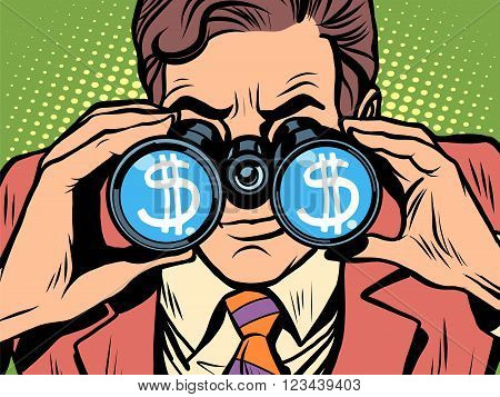 Monitoring the currency dollar exchange rate pop art retro style. A man looks through binoculars. The trader on the exchange