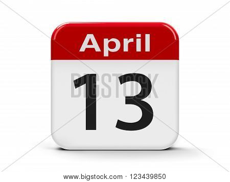 Calendar web button - Thirteenth of April - World Rock-n-roll Day three-dimensional rendering, 3d illustration
