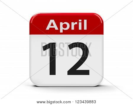 Calendar web button - Twelfth of April - International Day of Human Space Flight and Cosmonautics Day, three-dimensional rendering, 3d illustration