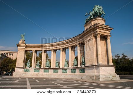 Monument landmark on the Square of Heroes in Budapest Hungary