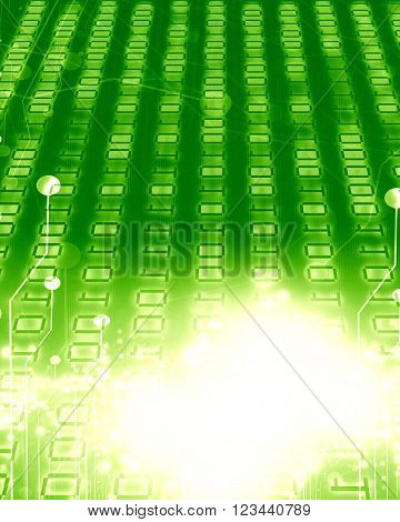Bits and bytes on a soft glowing green background