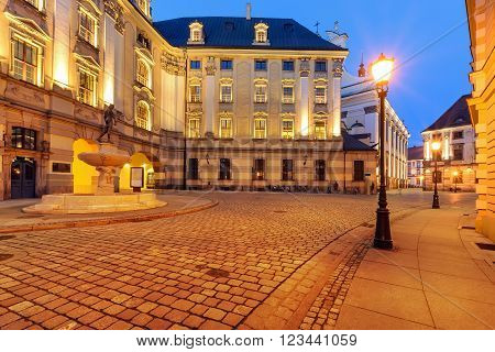 Urban architecture near the Wroclaw university in the evening. Poland. Europe.