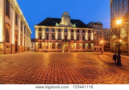 Urban architecture near the Wroclaw university after sunset. Poland. Europe.