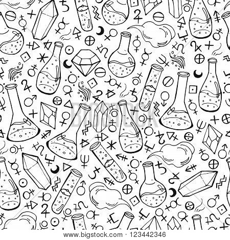 Seamless Pattern With Flasks And Alchemy Symbols