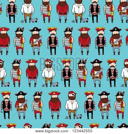Seamless Pattern With Different Curte Bearded Pirates