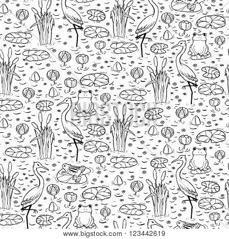 Seamless Pattern With Canes, Herons And Lillies. Swarm Life.