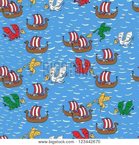 Seamless Pattern With Dragon Attacking Viking Ships