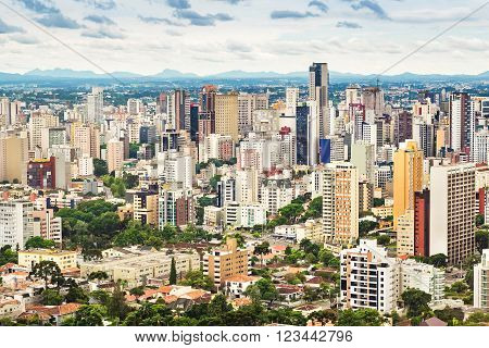 Aerial view of Curitiba cityscape, Parana State, Brazil.