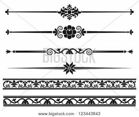 Decorative elements. Design elements - decorative line dividers and ornaments. Monochrome graphic element. Vector illustration. poster